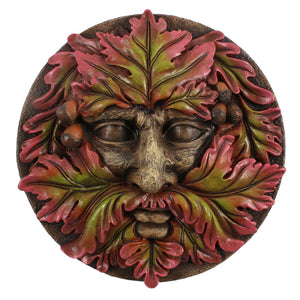 Green Man Round Face Plaque