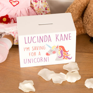 Personalised 'I'm Saving for a Unicorn' Money Box