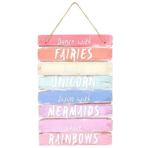 Fairy, Unicorn and Mermaid Rainbow Plaque