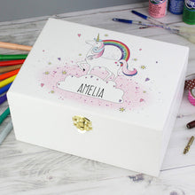 Personalised Unicorn White Wooden Keepsake Box