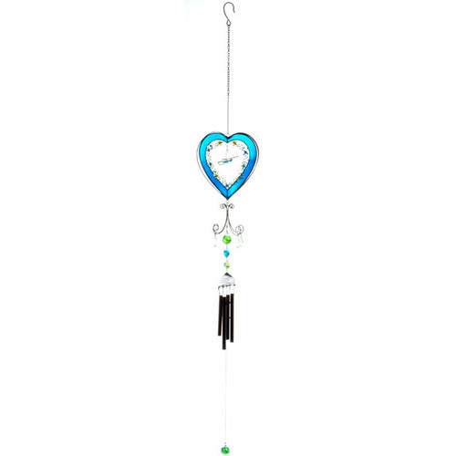 Blue Heart With Butterfly Suncatcher and Windchime