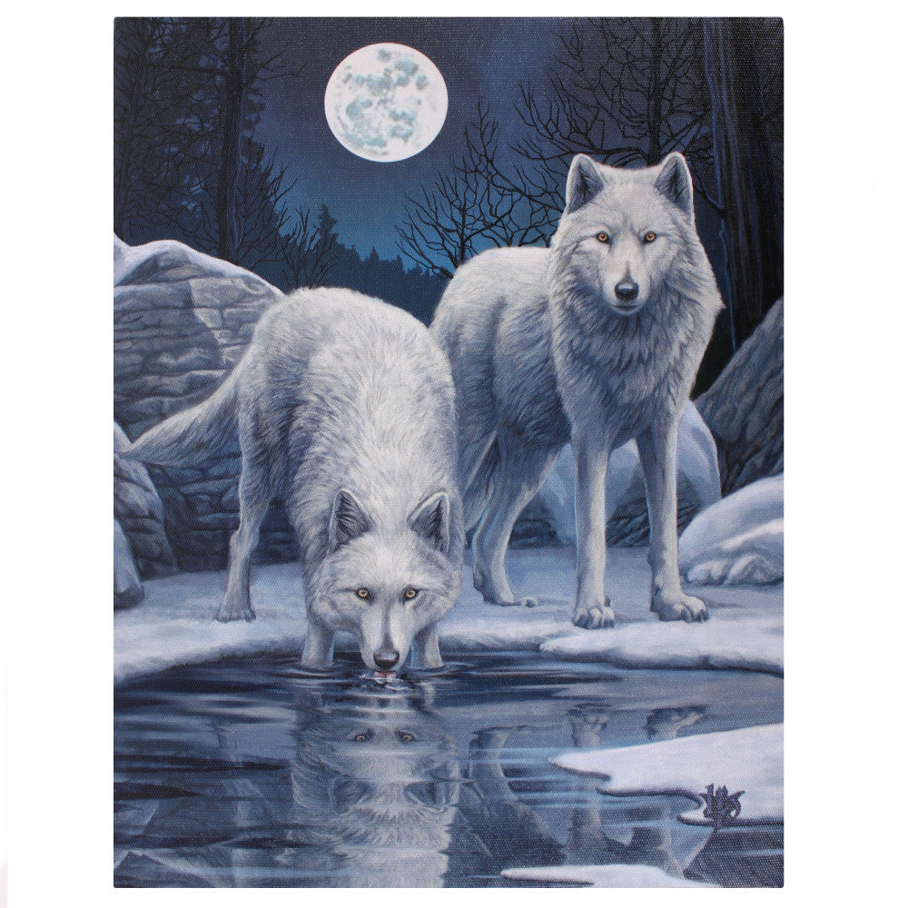 'Winter Warriors' (Wolf) Canvas Plaque by Lisa Parker - 19 x 25cm