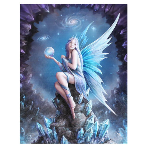 'Star Gazer' Fairy Canvas Plaque by Anne Stokes - 19 x 25cm