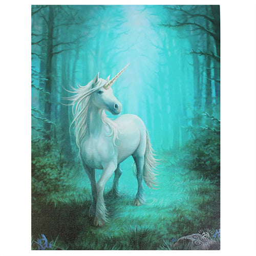 'Forest Unicorn' Canvas Plaque by Anne Stokes - 19 x 25cm
