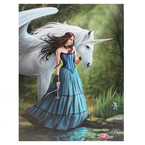'Enchanted Pool' Unicorn Canvas Plaque by Anne Stokes - 19 x 25cm