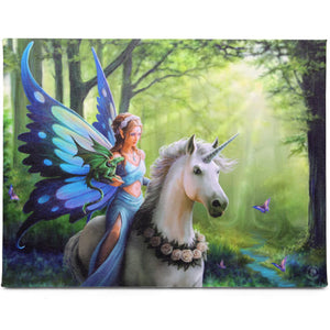 'Realm of Enchantment' Fairy, Unicorn & Dragon Canvas Plaque by Anne Stokes - 25 x 19cm