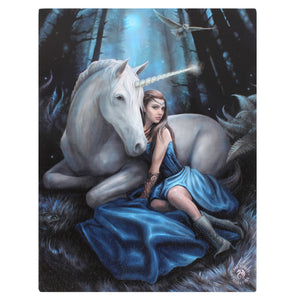 'Blue Moon' Unicorn Canvas Plaque by Anne Stokes - 19 x 25cm