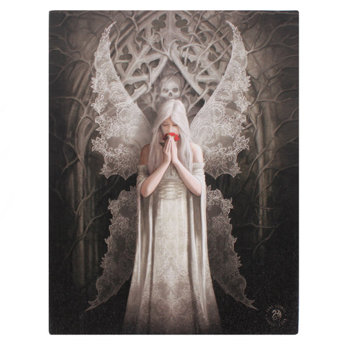 'Only Love Remains' Angel Canvas Plaque by Anne Stokes - 19 x 25cm