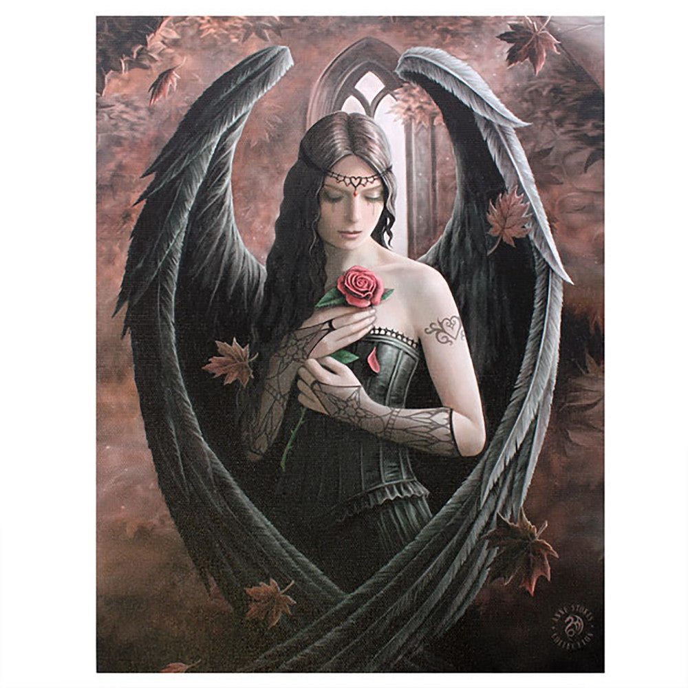 'Angel Rose' Canvas Plaque by Anne Stokes - 19 x 25cm