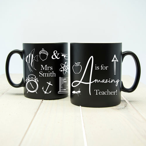 Personalised 'A is for Amazing Teacher' Matte Coloured Mug - Choice of 5 Colours Available