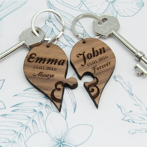 Personalised 'Always & Forever' Couples' Wooden Jigsaw Keyring