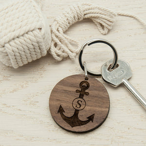 Personalised Anchor and Initial Round Wooden Keyring