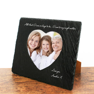 Personalised 'Angel Mother' Heart Slate Photo Frame