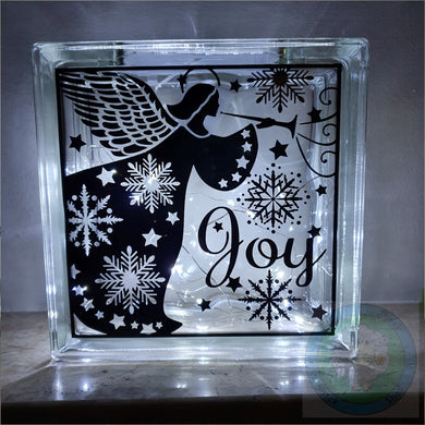 Christmas Angel Light Up (LED) Glass Block Decoration