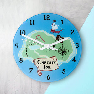 Arrrr! Personalised Pirate Glass Wall Clock