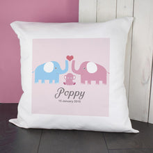 Personalised Baby Cushion Cover - Elephants (Available in Blue or Pink)