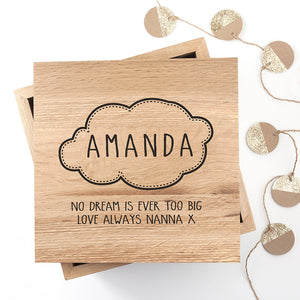 Personalised Cloud Wooden (Oak) Photo Baby Keepsake Box