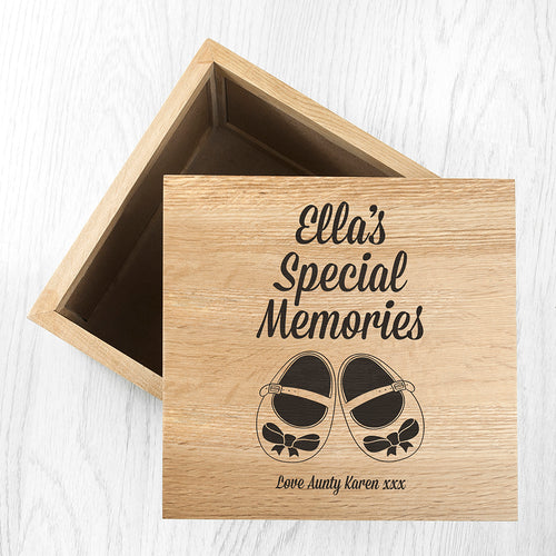 Personalised 'Special Memories' (Baby Shoes) Wooden (Oak) Photo Keepsake Box - Two Design Available