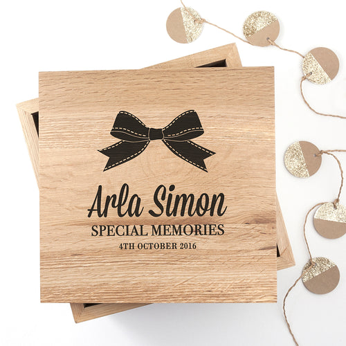 Personalised Baby's Special Memories Wooden (Oak) Photo Keepsake Box - Bow or Bow Tie Version