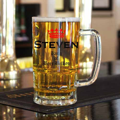 Personalised 'King of the Beer Belly' Glass Tankard