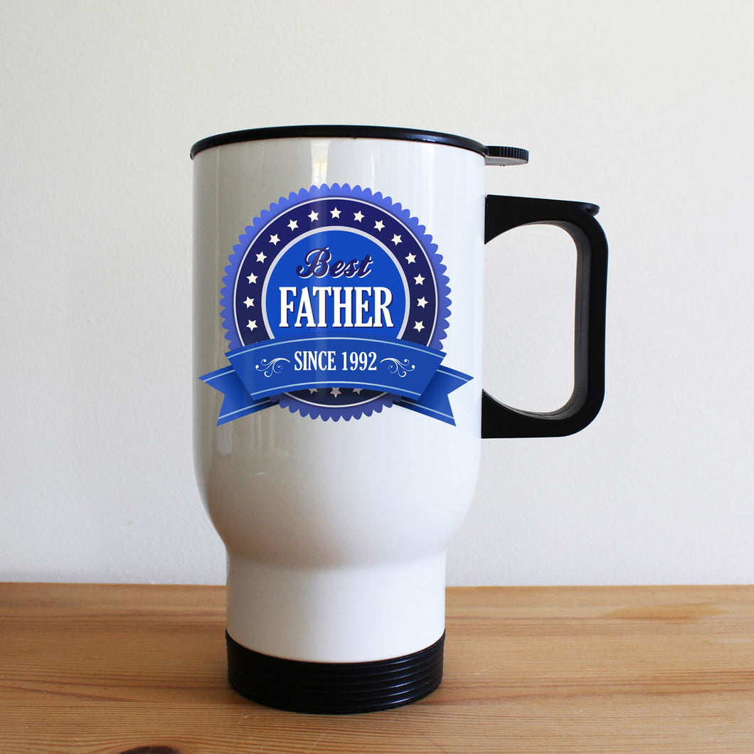 Personalised 'Best Father Since' Metal Travel Mug
