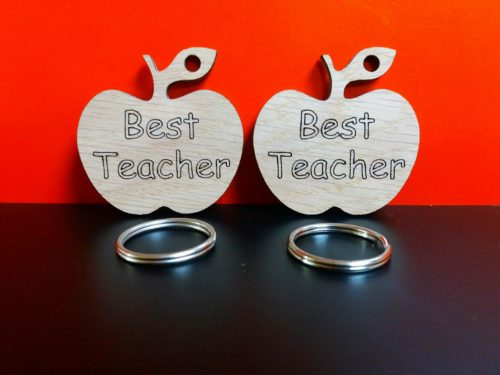 Oak Veneer 'Best Teacher' Apple Keyring