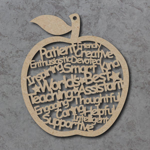 Customisable Wooden 'Worlds Best Teaching Assistant' Apple
