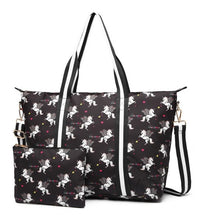 Oilcloth (Matte) Unicorn Overnight Bag - Available in Black, Grey, Pink and Blue