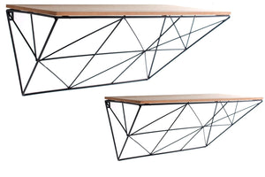 Set of 2 Geometric Wire Shelves - Available in Black or White