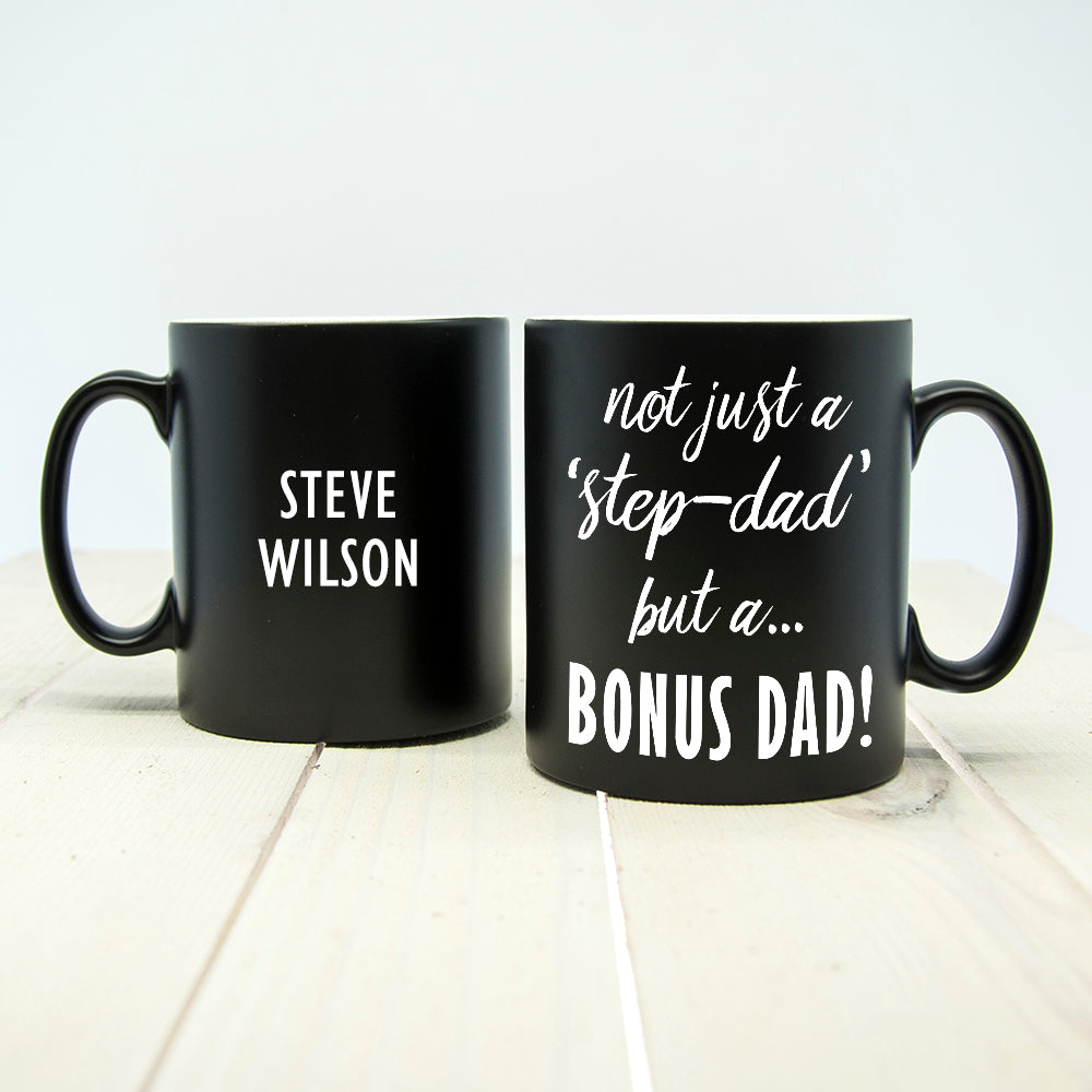 Personalised 'Bonus Dad' Black Matte Mug