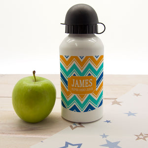 Personalised Zigzag Design Childrens Aluminium Water Bottle