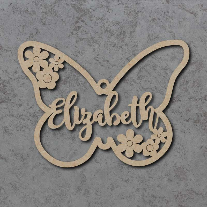 Personalised and Customisable Wooden Butterfly Name Decoration/Plaque