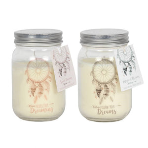 Dream Catcher Design Candle Jar - Available in either Pink and Grey