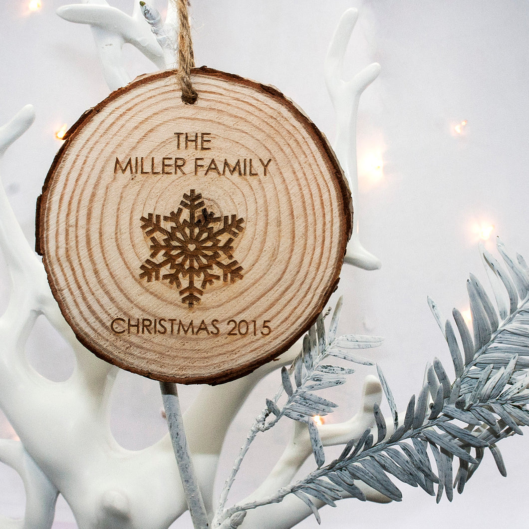 Personalised Family Christmas Snowflake Hanging Decoration