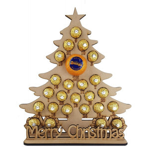 Christmas Tree with Merry Christmas Ferrero Rocher/Lindt Chocolate and Chocolate Orange Christmas Advent Calendar
