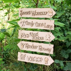 Customisable Wooden Christmas Directions Hanging Sign