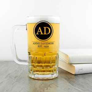 Circle Monogram Personalised Beer Glass Tankard