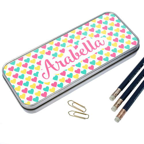 Personalised Colourful Heart Pattern Pencil Case