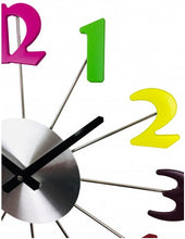 Multi Coloured Metal Wall Clock 38cm