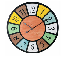 Multi Coloured Wooden Wall Clock 58cm