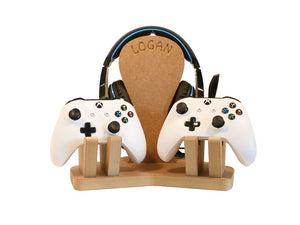 Personalised and Customisable Headphones and Controller x2 Wooden Stand