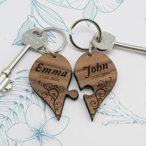 Personalised Couples' Romantic Joining Heart Keyring