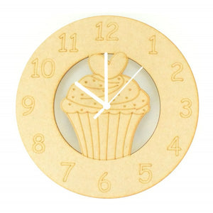 Customisable Wooden Cupcake Clock