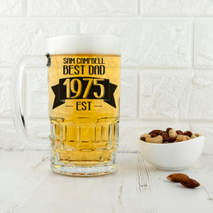 Dad Established In Personalised Beer Glass Tankard