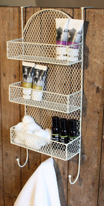 3 Tier Cream Overdoor Shelf and Hooks - Ideal for the Kitchen, Bathroom or Bedroom