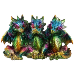 Hear No See No Speak No Evil Metallic Rainbow Colour Resin Dragon Ornament