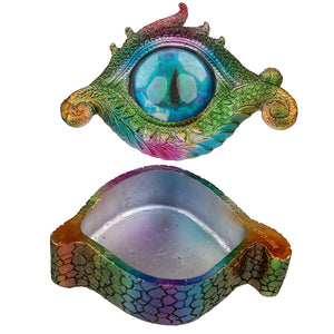 All Seeing Eye Metallic Rainbow Dragon Resin Trinket / Jewellery Box