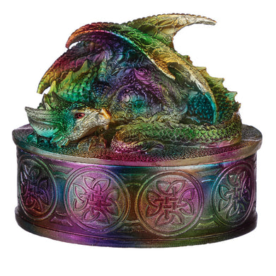 Metallic Rainbow Colour Resin Dragon Jewellery / Trinket Box