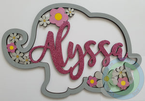 Personalised and Customisable Wooden Elephant Name Decoration