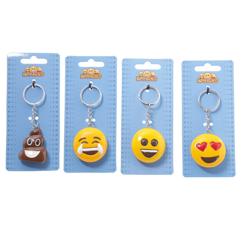 Emotive Keyrings: Poop, Joy, Big Smile, Heart Eyes